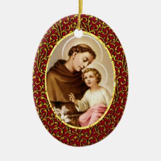 Ornamento De Cerâmica St Anthony de Pádua personaliza a cor do fundo
