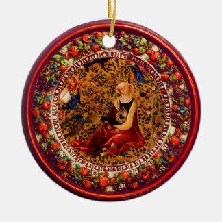 Ornamento De Cerâmica St. Catherine, Natal floral vermelho da coroa dos