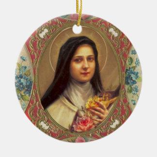 Ornamento De Cerâmica St. Therese do crucifixo infantil dos rosas de