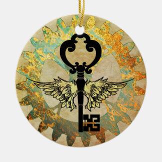 Ornamento De Cerâmica Steampunk voou a chave e a roda da roda denteada