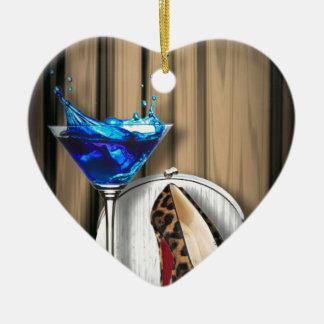 Ornamento De Cerâmica stilletos da menina de cocktail de martini do