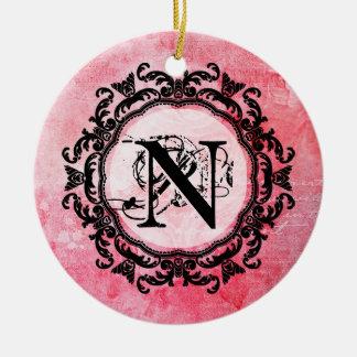 Ornamento De Cerâmica Sua letra, velha, vintage, romântico, aumentou,