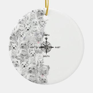 Ornamento De Cerâmica Sudeste norte & cão de Westie