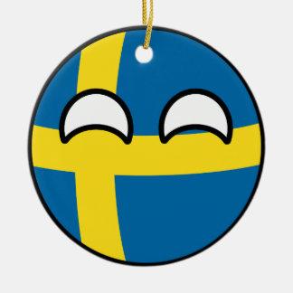 Ornamento De Cerâmica Suecia Geeky de tensão engraçada Countryball