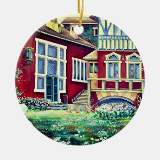 Ornamento De Cerâmica Suecia, paisagem tradicional