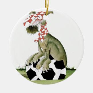 Ornamento De Cerâmica suporte feliz do cão do futebol dos vermelhos