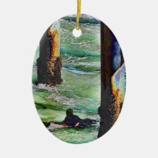 Ornamento De Cerâmica Surfer1