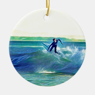 Ornamento De Cerâmica Surfista