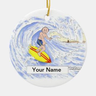 Ornamento De Cerâmica Surfista - homem