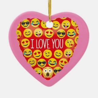 Ornamento De Cerâmica Surpreendendo eu te amo o presente de Emoji