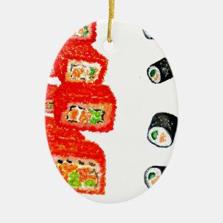 Ornamento De Cerâmica Sushi Watercolor3 ajustado