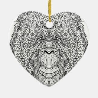 Ornamento De Cerâmica T do macaco do orangotango - coloração do estilo