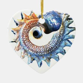 Ornamento De Cerâmica T espiral dourado da ioga do Seashell da mandala