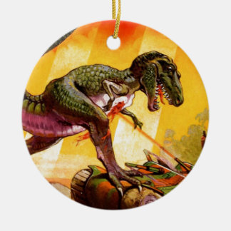Ornamento De Cerâmica T-Rex contra o tanque de Sherman