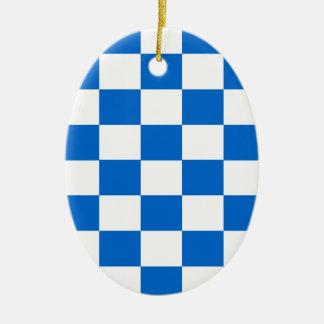 Ornamento De Cerâmica Tabuleiros de damas azuis e brancos