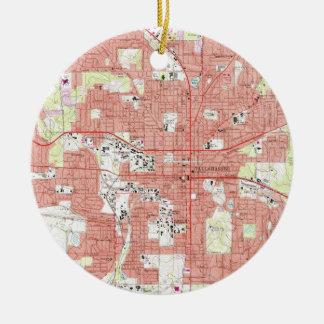 Ornamento De Cerâmica Tallahassee Florida Mapa (1970)