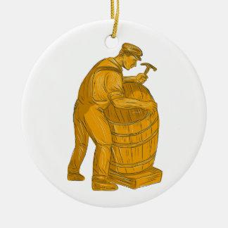 Ornamento De Cerâmica Tanoeiro que faz o desenho de madeira do tambor
