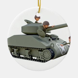 Ornamento De Cerâmica Tanque e soldados dos desenhos animados na