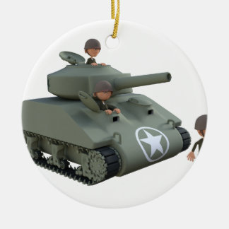 Ornamento De Cerâmica Tanque e soldados dos desenhos animados que vão