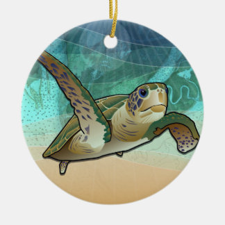 Ornamento De Cerâmica Tartaruga de mar litoral do Atlântico