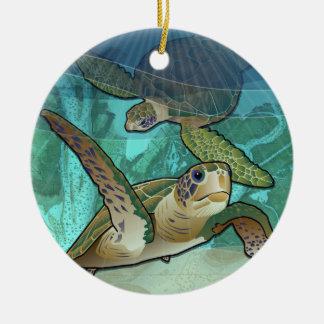 Ornamento De Cerâmica Tartarugas de mar litorais do Atlântico
