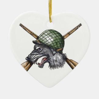 Ornamento De Cerâmica Tatuagem cruzado capacete dos rifles do lobo