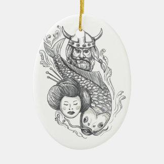 Ornamento De Cerâmica Tatuagem da cabeça da gueixa da carpa de Viking