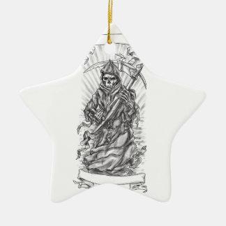 Ornamento De Cerâmica Tatuagem da fita do Scythe do Ceifador