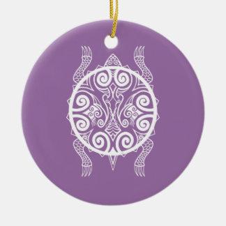 Ornamento De Cerâmica Tatuagem da tartaruga do guerreiro de Tiki