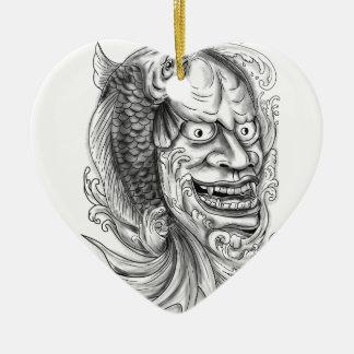 Ornamento De Cerâmica Tatuagem de conexão em cascata da água dos peixes