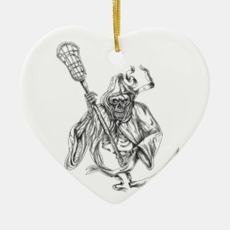 Ornamento De Cerâmica Tatuagem de Pólo da defesa do Lacrosse do Ceifador