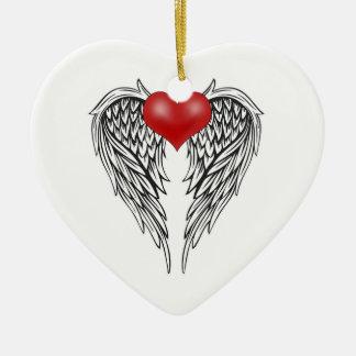 Ornamento De Cerâmica Tatuagem do coração do anjo