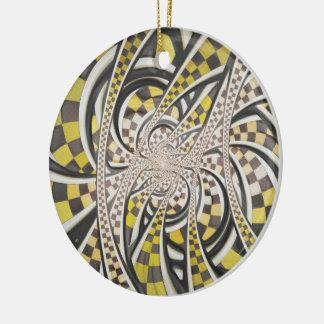 Ornamento De Cerâmica Táxi de táxi líquido, um Fractal retro Checkered