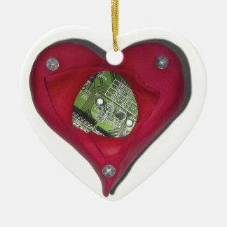 Ornamento De Cerâmica Techie no coração