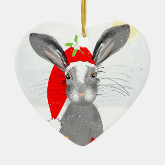 Ornamento De Cerâmica Tema bonito do feriado do Natal do coelho de