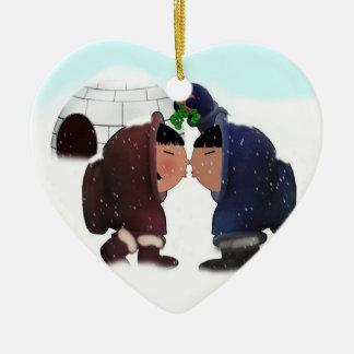 Ornamento De Cerâmica Tempo do visco - visco que beija esquimós