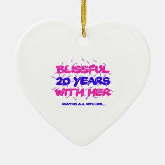 Ornamento De Cerâmica Tendendo o 20o design do aniversário do casamento