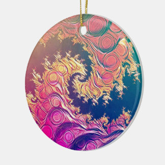 Ornamento De Cerâmica Tentáculos do polvo do arco-íris em uma espiral do
