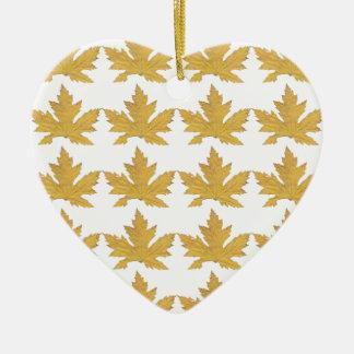 Ornamento De Cerâmica Teste padrão amarelo da folha
