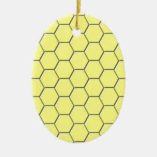 Ornamento De Cerâmica Teste padrão amarelo do favo de mel