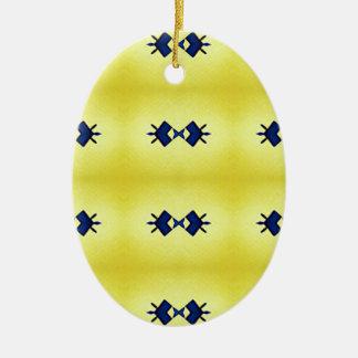 Ornamento De Cerâmica Teste padrão amarelo vibrante brilhante do marinho