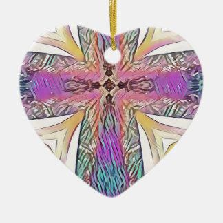Ornamento De Cerâmica Teste padrão artístico do vitral da cruz Pastel da
