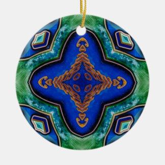 Ornamento De Cerâmica Teste padrão artístico dos azuis marinhos modernos