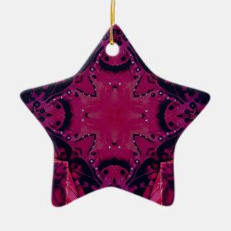 Ornamento De Cerâmica Teste padrão artístico magenta de néon do pop