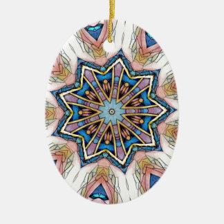 Ornamento De Cerâmica Teste padrão azul da mandala do pêssego moderno