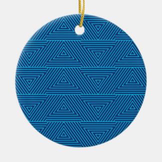 Ornamento De Cerâmica teste padrão azul do triângulo