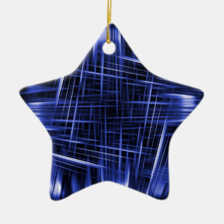 Ornamento De Cerâmica Teste padrão azul dos feixes luminosos