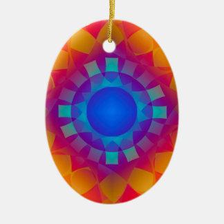 Ornamento De Cerâmica Teste padrão azul e alaranjado de Sun