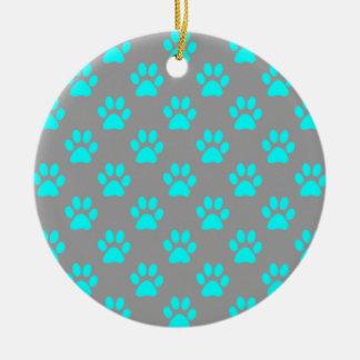 Ornamento De Cerâmica Teste padrão azul e cinzento das patas
