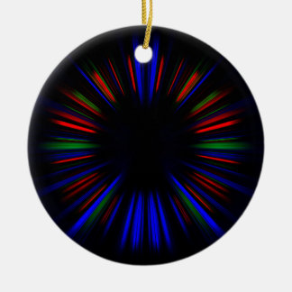 Ornamento De Cerâmica Teste padrão azul e vermelho do starburst